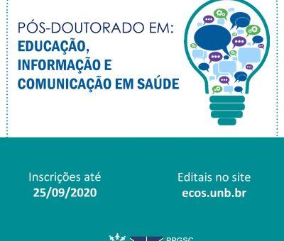Vagas abertas para pós-doutorado em Educação, Informação e Comunicação em Saúde na UnB
